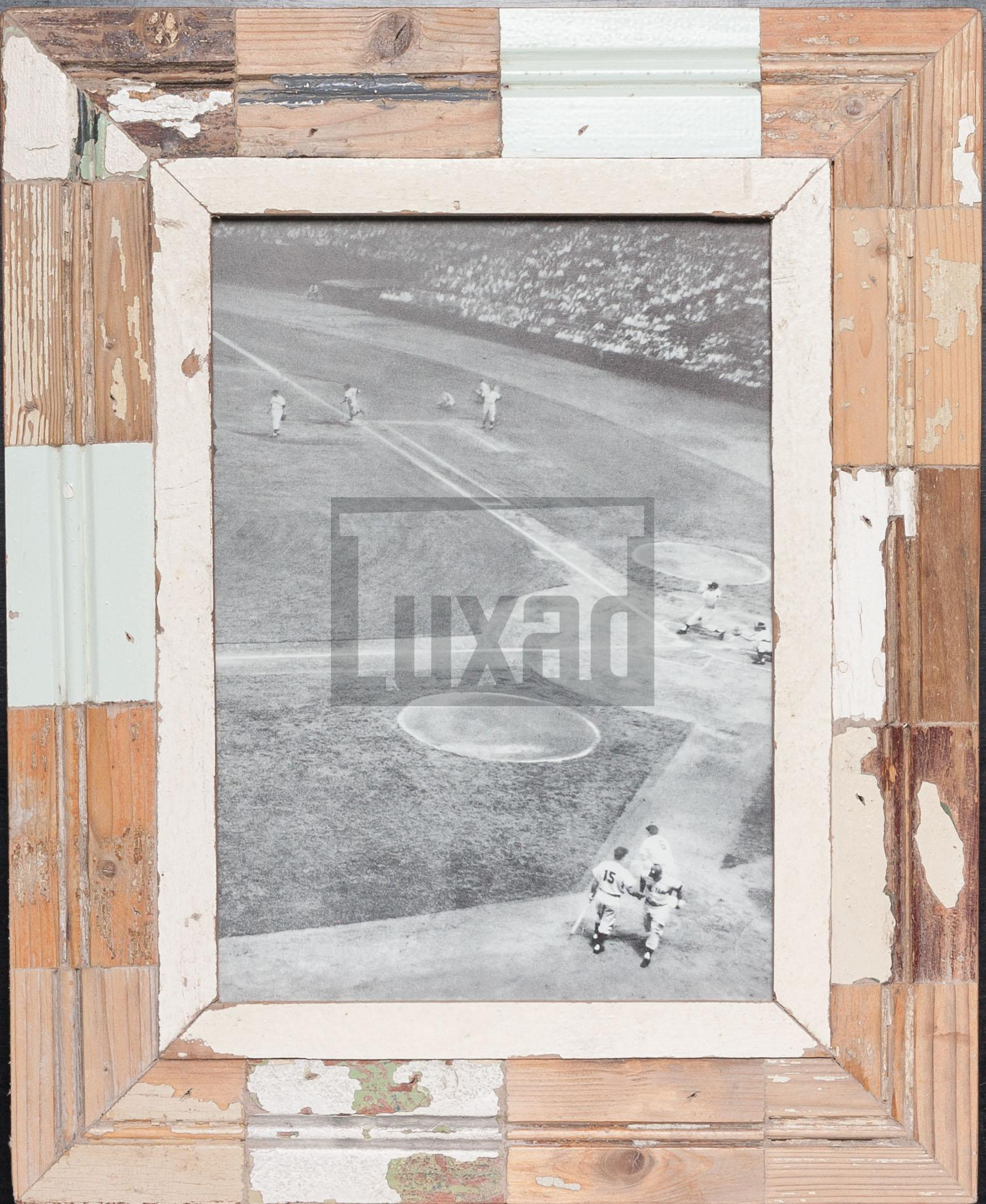 Vintage-Bilderrahmen mit Holzmosaik für ca. 21 x 29,7 cm große Fotos