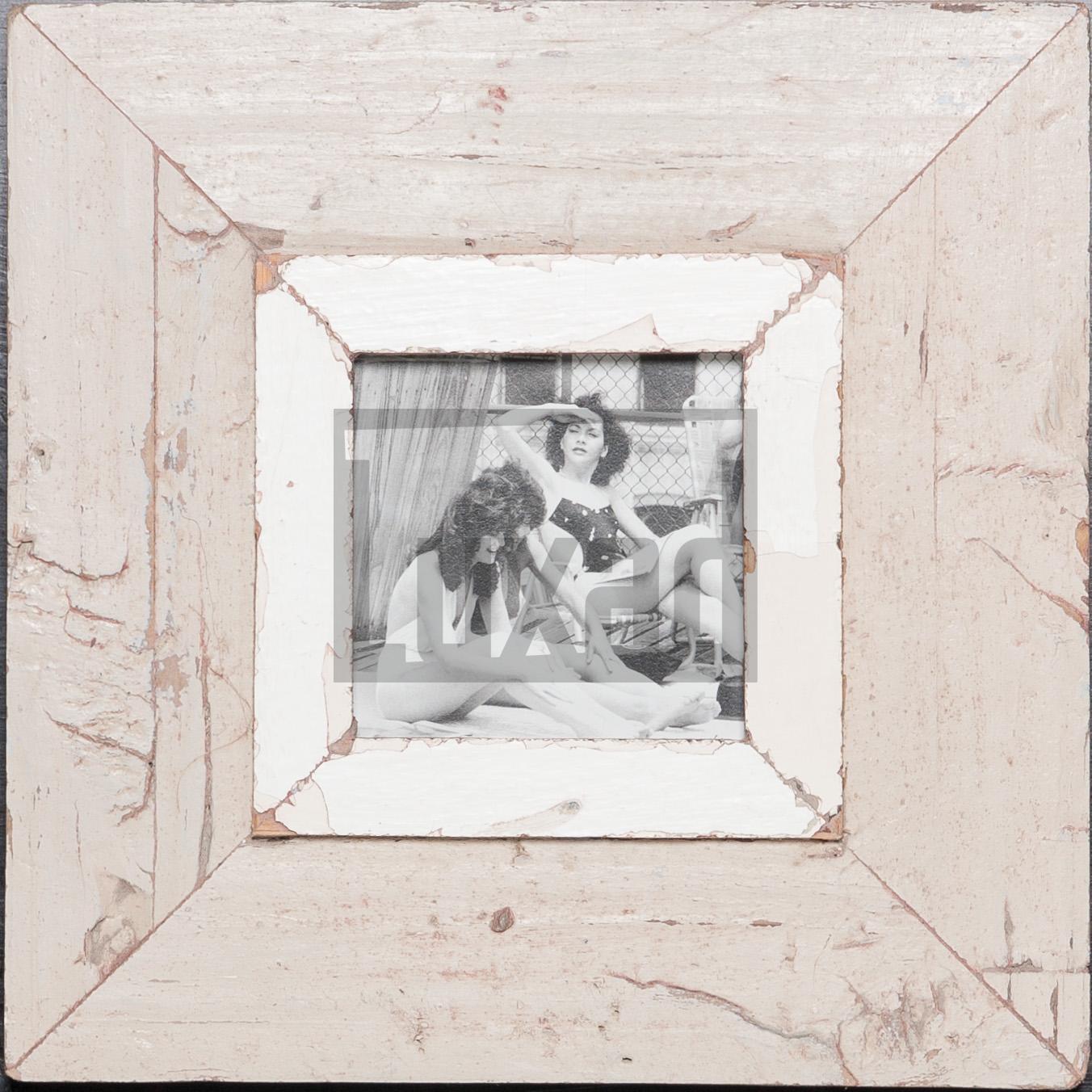 Quadratischer Bilderrahmen aus recyceltem Holz für ca. 10,5 x 10,5 cm