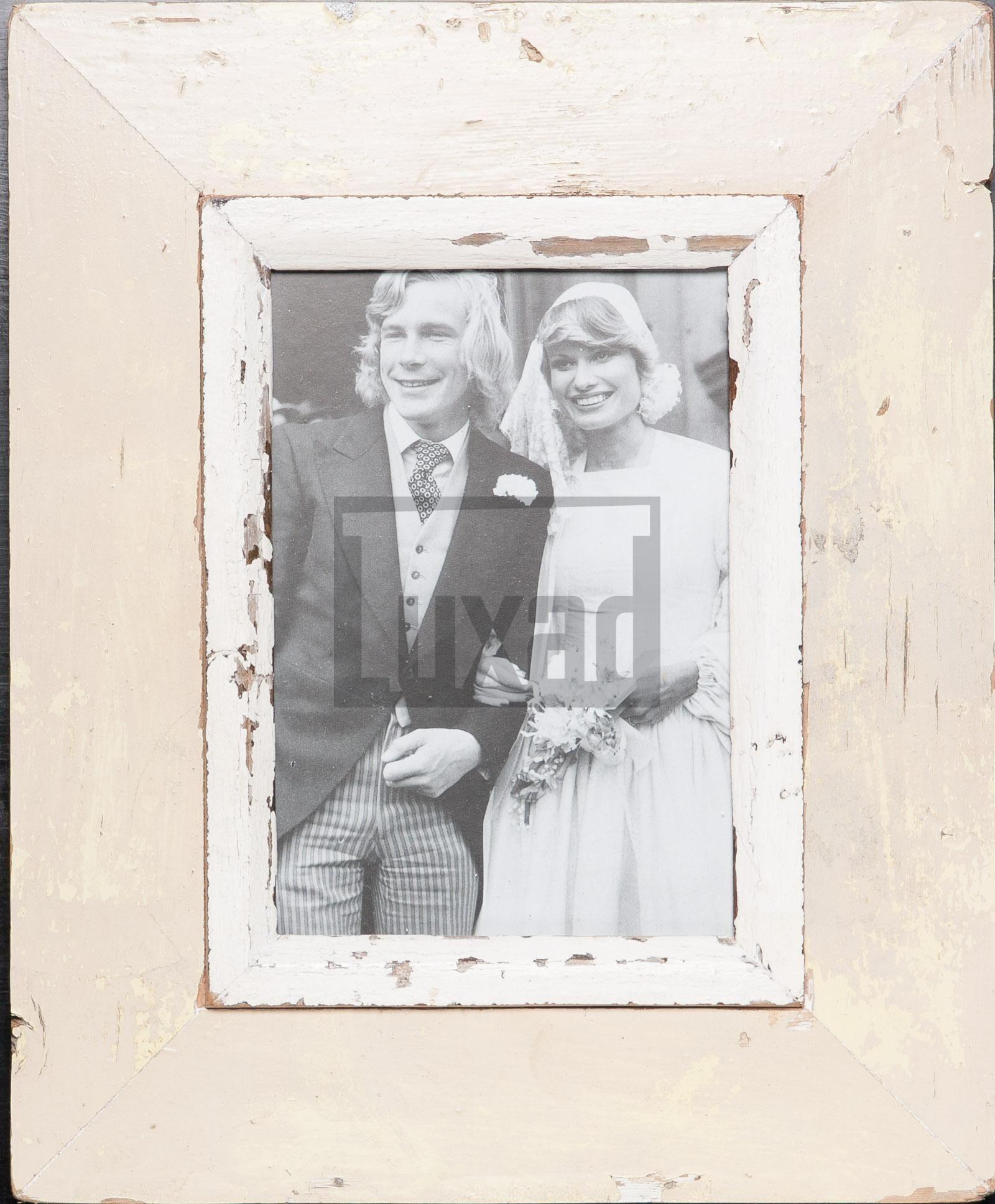 Vintage-Fotorahmen aus recyceltem Holz für ca. 14,8 x 21 cm